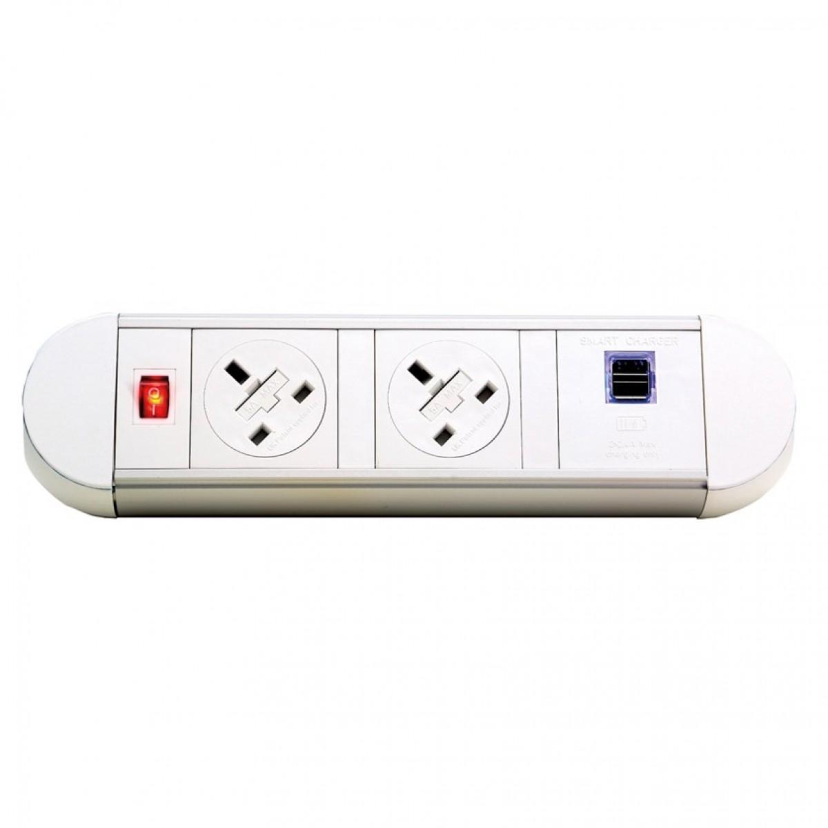 DAMS Chroma clip-on power module 2 x UK sockets, 1 x twin USB fast charge