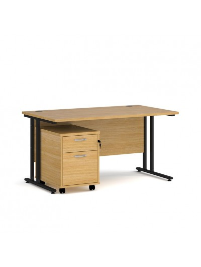 BIG DEALS Straight Desk with 2 Drawer Pedestal - choice of Size