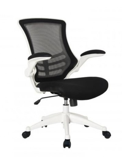 oI Best Seller Value Deluxe Mesh Operator Chair in Black with white frame