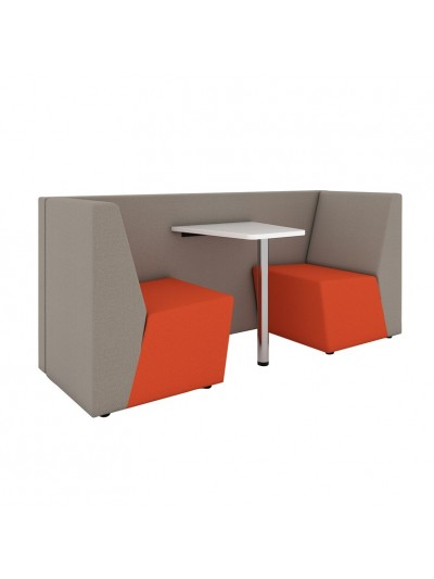 Ziggy low back 2 person meeting booth with table