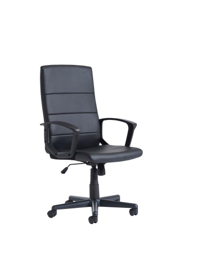 Ascona high back managers chair - black faux leather