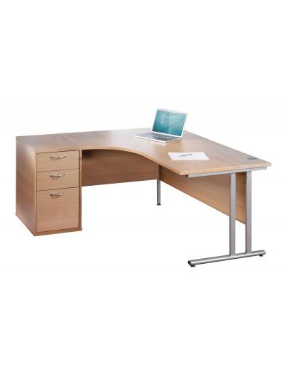Big Deals Dams 1600mm Ergo Desk with 3 Drawer Pedestal