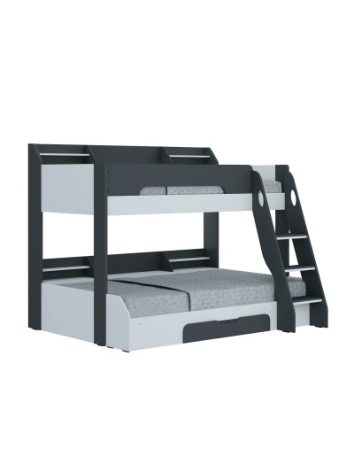 Flair Flick Triple Wooden Bunk Bed in white, grey or oak