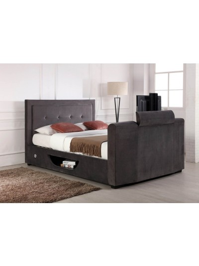 Flair Juliet Double Side Lift Ottoman TV Bed in Silver Grey Velvet
