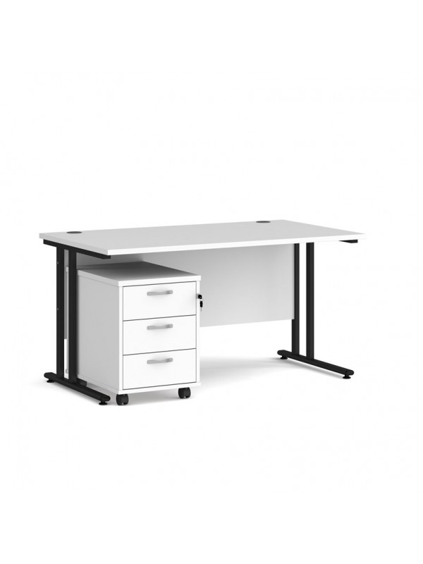 BIG DEALS Straight Desk with 3 Drawer Pedestal - choice of Size