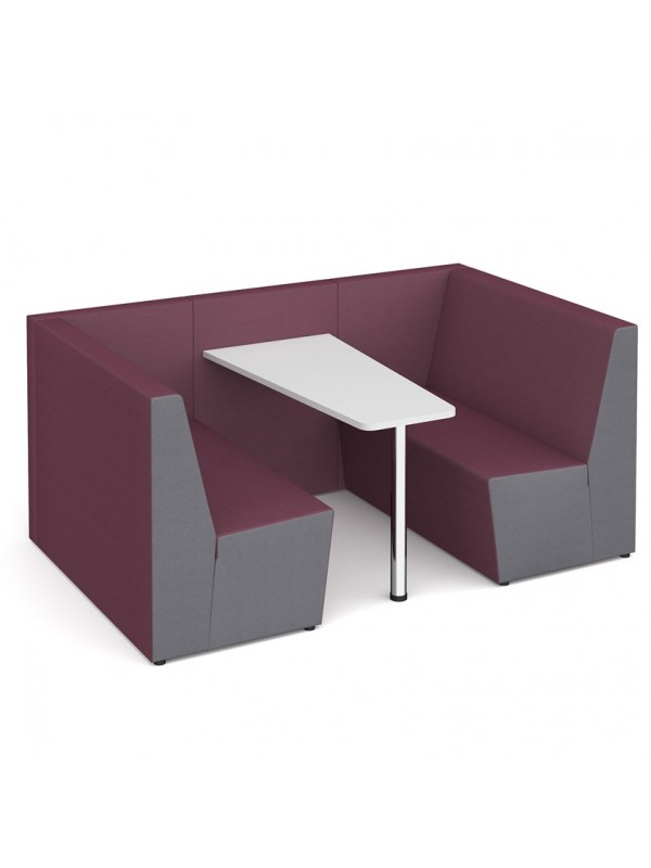 Ziggy low back 4 person meeting booth with table