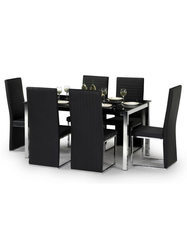 Tempo Black Glass Dining Table & 6 Faux Leather Chairs