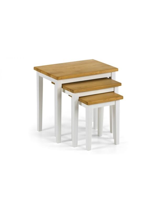 julian bowen Cleo Nest of Tables - Two Tone White/Oak Finish