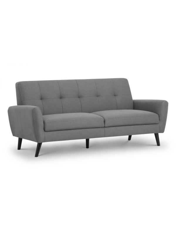 julian bowen Monza Retro 3 Seat Sofa Mid Grey Linen Fabric