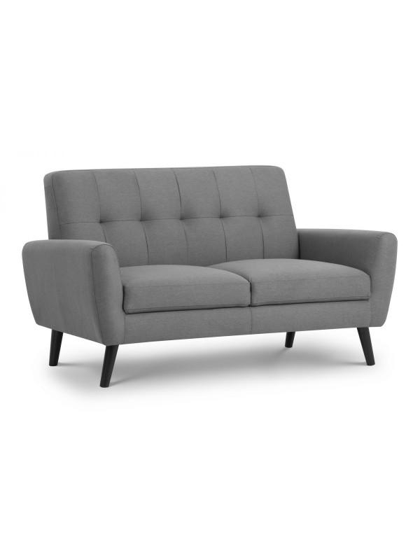 julian bowen Monza Retro 2 Seat Sofa Mid Grey Linen Fabric