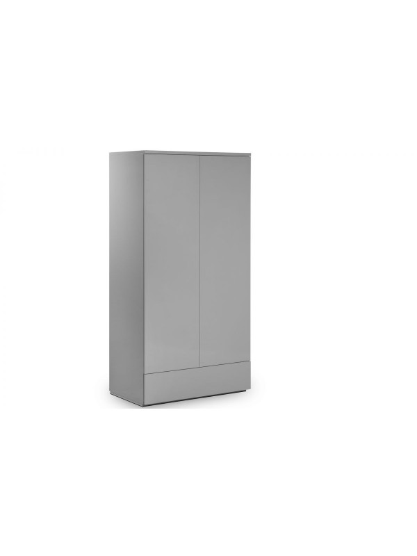 Julian Bowen Monaco 2 Door Combination Wardrobe - Grey High Gloss