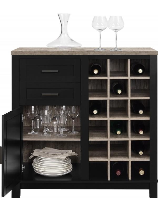 Dorel Carver Bar cabinet in black/weathered oak or grey/weathered oak