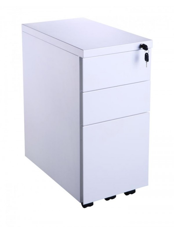 OI Value Slimline Metal Handle-less Pedestal White Silver or Black