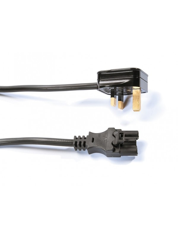 DAMS  Mains lead with UK 3 pin plug to 3 pole connector - black