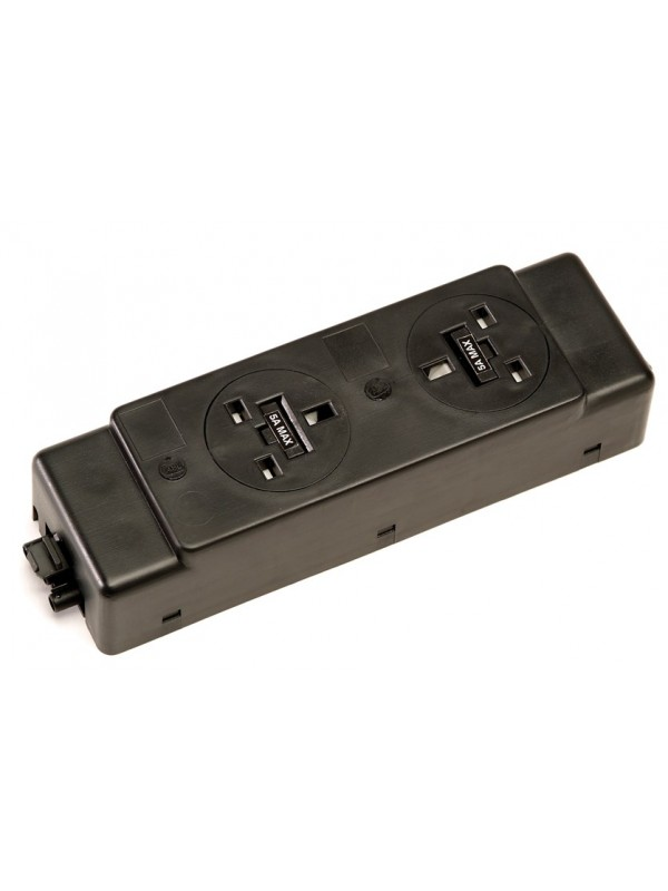 DAMS Under desk power bar 2 x UK sockets - black