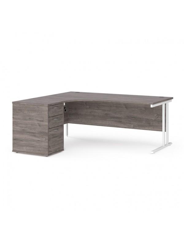 Big Deals Dams 1800mm Ergo Desk with 3 Drawer Pedestal