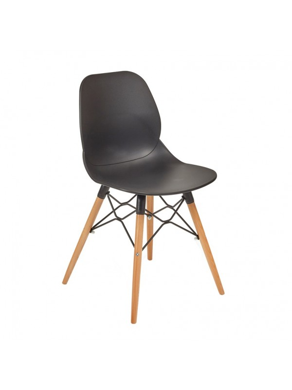 Strut multi-purpose Chair with natural oak 4 leg frame and black steel detail