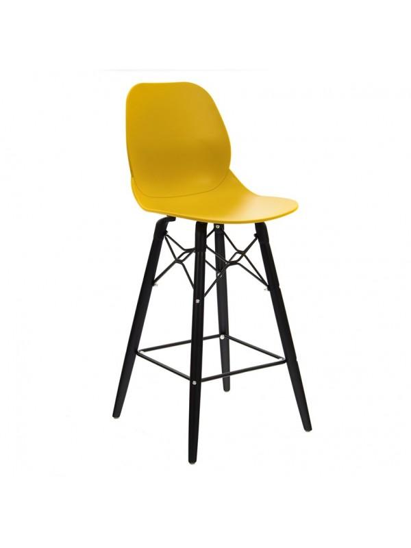 Strut multi-purpose stool with black oak 4 leg frame and black steel detail