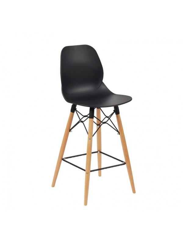 Strut multi-purpose stool with natural oak 4 leg frame and black steel detail
