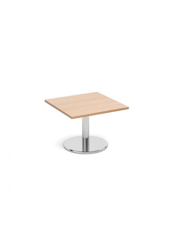 julian bowen Pisa square coffee table with round chrome base oak