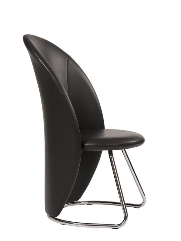 Alliance Taco Unique Tub Shaped Visitor Cantilever Chair, Crib 5 Black Vinyl