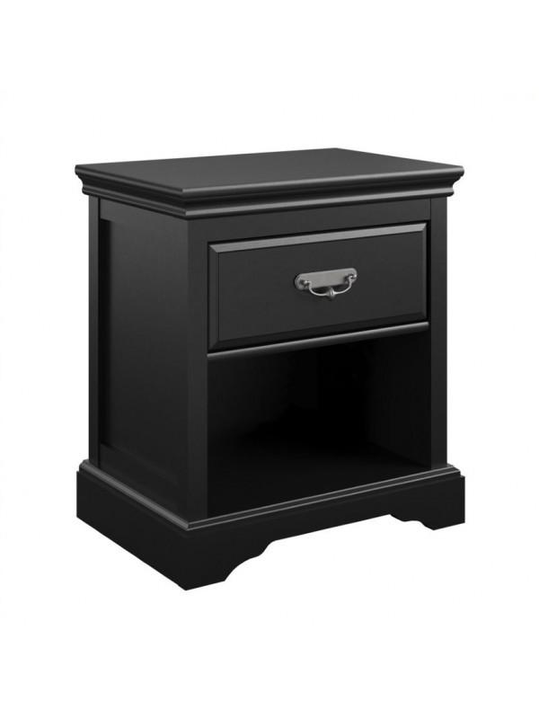 Dorel Bristol 1 Drawer Nightstand bedside cabinet in Painted Black MDF
