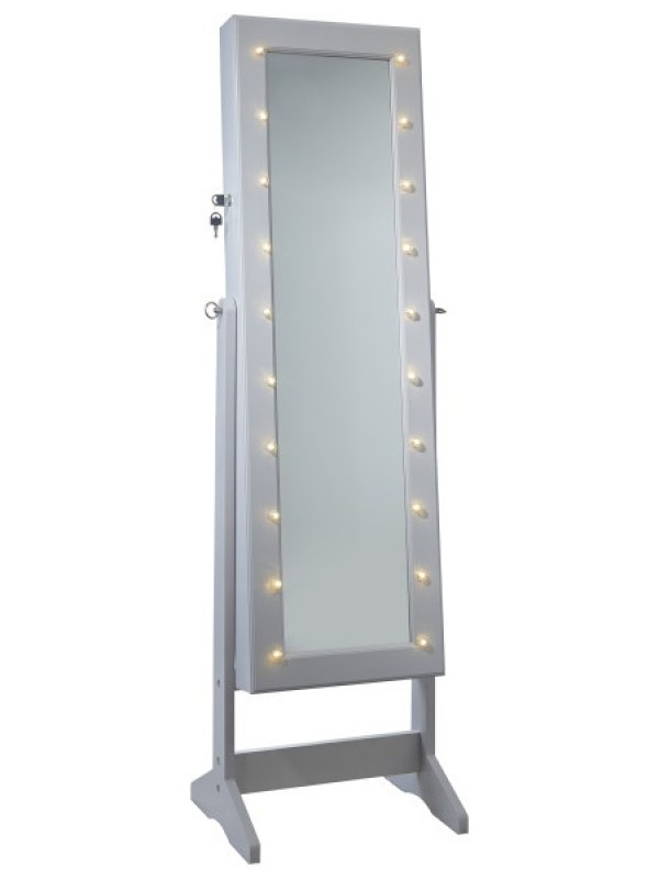 GFW Armoire Freestanding Mirror with Jewellery Storage & LED lights - Grey