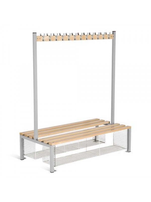 Senior Cloakroom Benches With Hanging - Double Sided