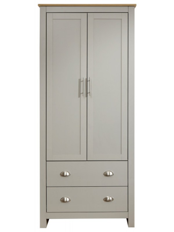GFW Lancaster 2 Door 2 Drawer Wardrobe Light Grey