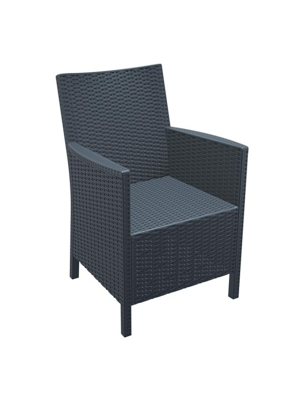 ZAP California Rattan Arm Chair - Dark Grey
