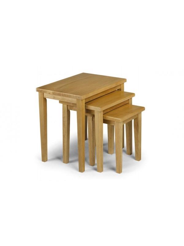 julian bowen Cleo  nest of tables - natural oak finish