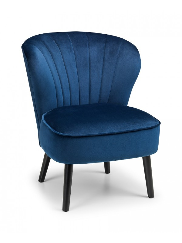 Julian Bowen Coco Retro Cocktail Lounge Chair - in Blue or Light Grey Velvet