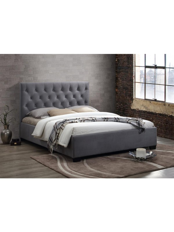 birlea fabric Cologne Bed grey or steel crushed velvet