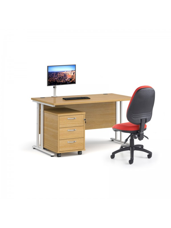 BIG DEALS Bundle White Frame, Desk, Chair, Pedestal & Monitor Arm