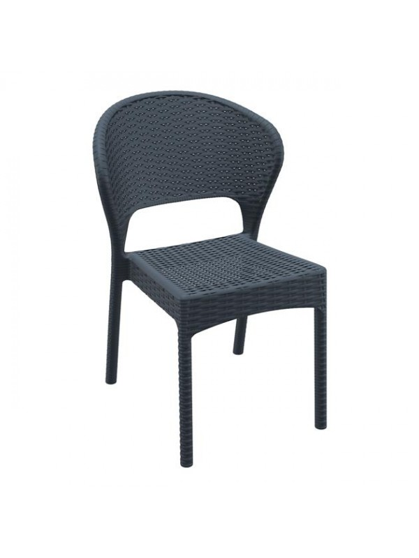 ZAP Daytona Rattan Side Chair - Dark Grey