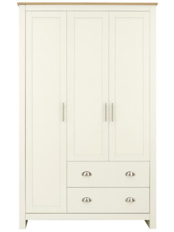 GFW Lancaster 3 Door 2 Drawer Wardrobe Ivory Cream