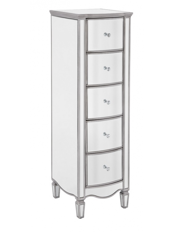 birlea Elysee Mirrored 5 Drawer Narrow Chest