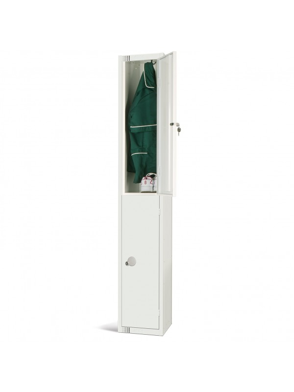 All White Metal 2 Door Personal Storage Locker