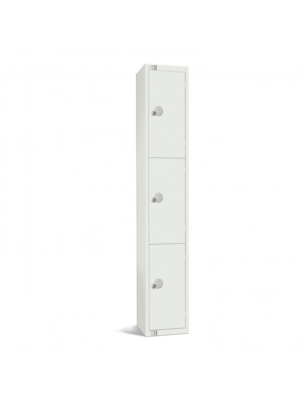 All White Metal 3 Door Personal Storage Locker