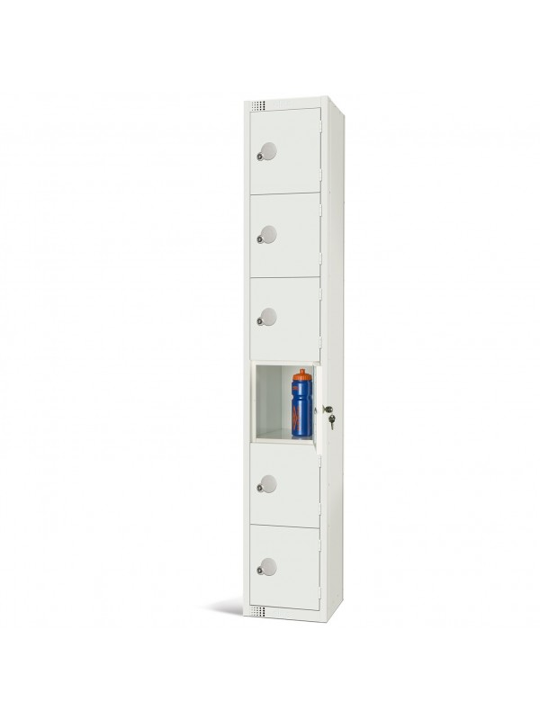 All White Metal 6 Door Personal Storage Locker