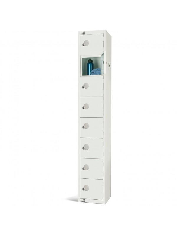 All White Metal 8 Door Personal Storage Locker