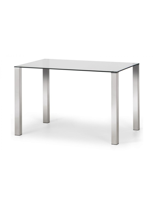 Julian Bowen Enzo Chrome & Glass Compact Dining Table