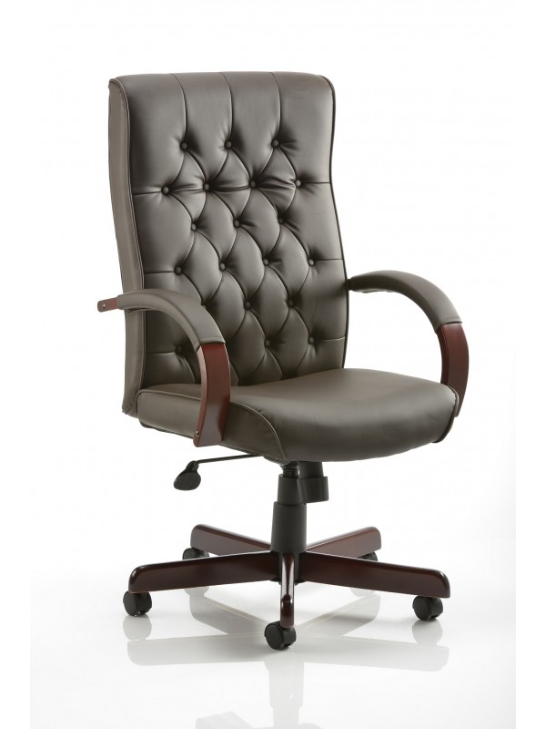 Dynamic Chesterfield Brown Leather Executive Chair with Arms