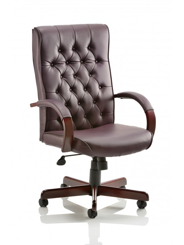 Dynamic Chesterfield Burgundy Leather Executive Chair with Arms