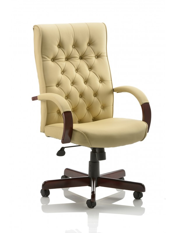 Dynamic Chesterfield Cream Leather Executive Chair with Arms