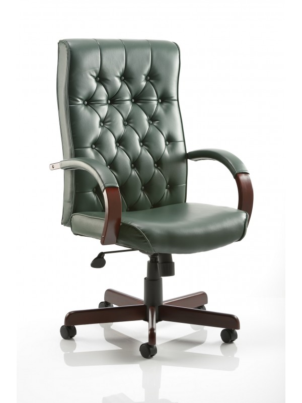 Dynamic Chesterfield Green Leather Executive Chair with Arms