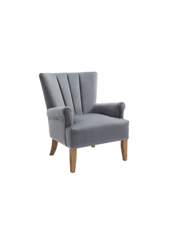 BIRLEA Flinn Grey Velvet Arm Chair