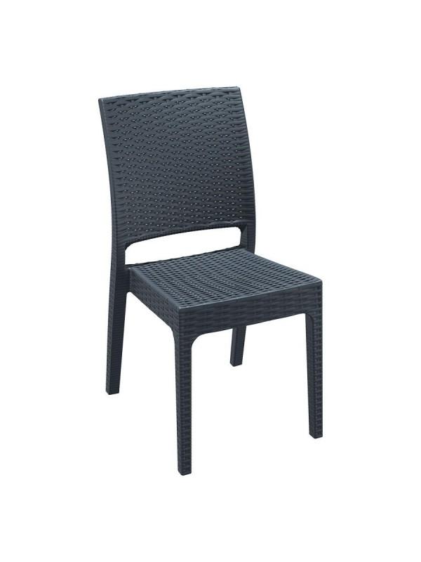 Zap Florida Side Chair in Dark Grey PU Weave