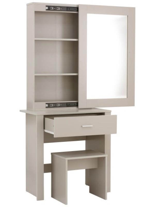GFW Hobson Sliding Mirror Storage Dressing Table & Stool - Grey