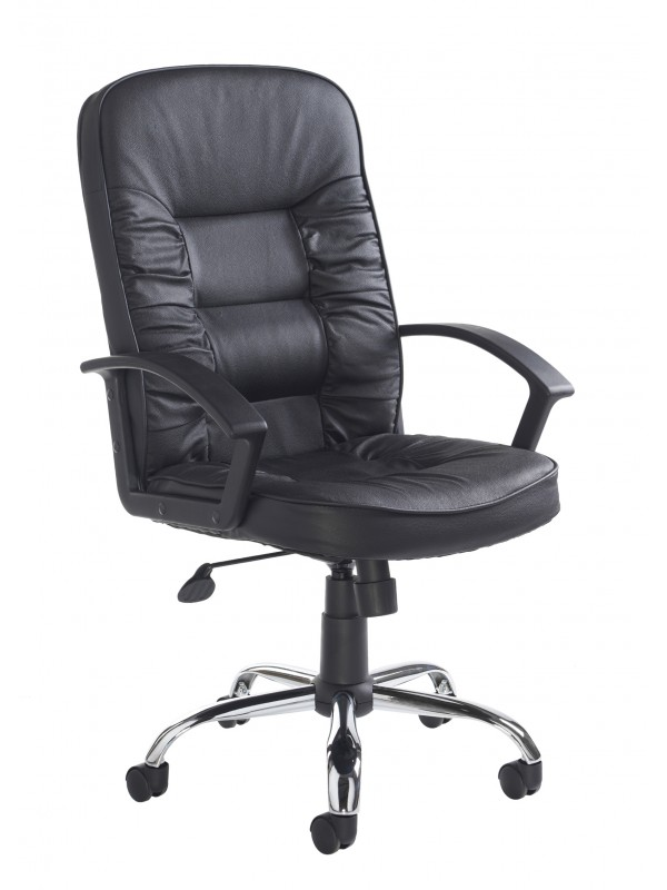 Dams Hertford high back managers chair - black leather faced